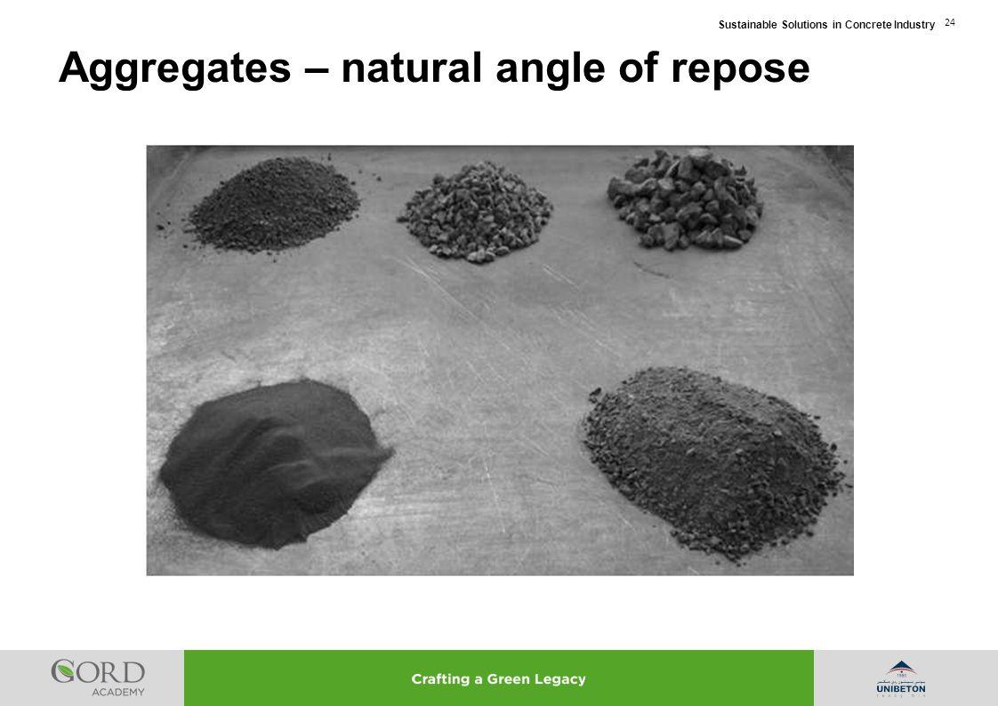 Aggregates – natural angle of repose
