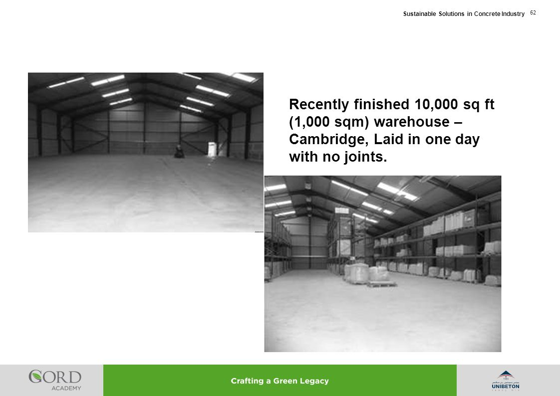 Recently finished 10,000 sq ft (1,000 sqm) warehouse – Cambridge, Laid in one day with no joints.