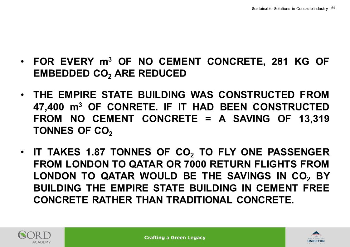 FOR EVERY m3 OF NO CEMENT CONCRETE, 281 KG OF EMBEDDED CO2 ARE REDUCED