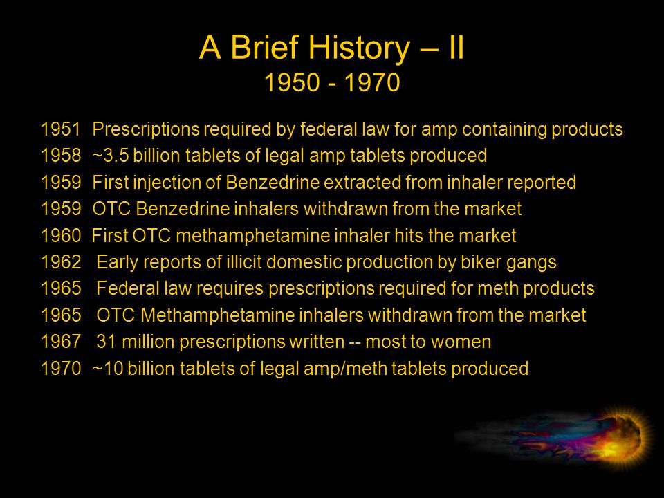 A Brief History – II 1950 - 1970 1951 Prescriptions required by federal law for amp containing products.