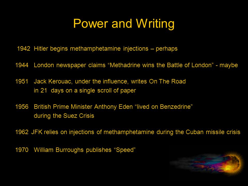 Power and Writing 1942 Hitler begins methamphetamine injections – perhaps.