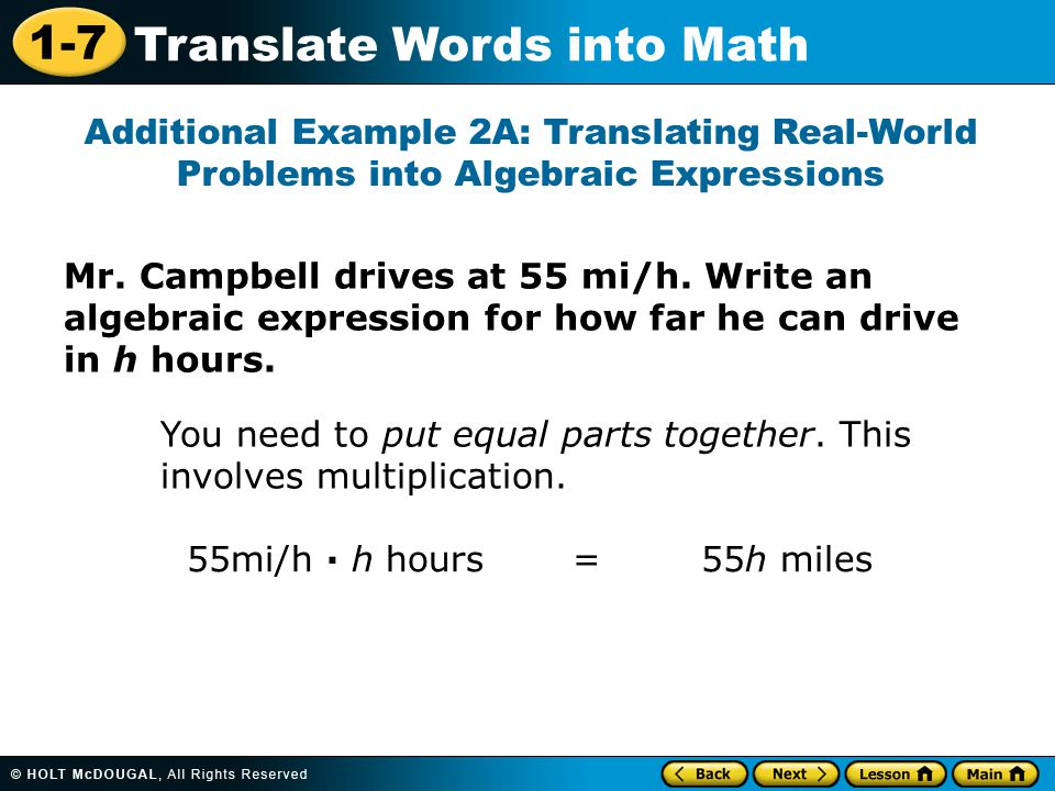 Additional Example 2A: Translating Real-World Problems into Algebraic Expressions