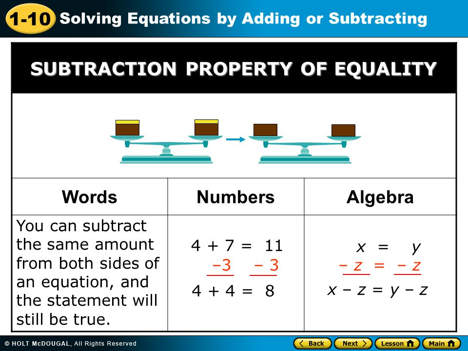 SUBTRACTION PROPERTY OF EQUALITY