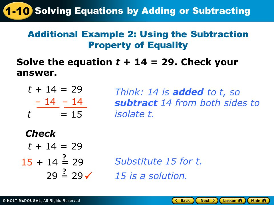 Additional Example 2: Using the Subtraction Property of Equality