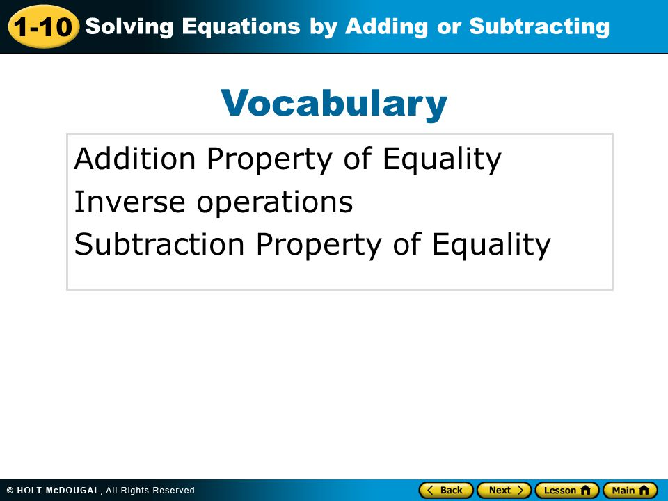 Vocabulary Addition Property of Equality Inverse operations