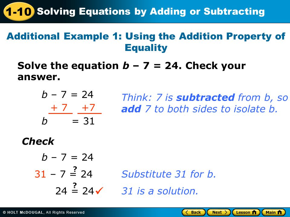 Additional Example 1: Using the Addition Property of Equality