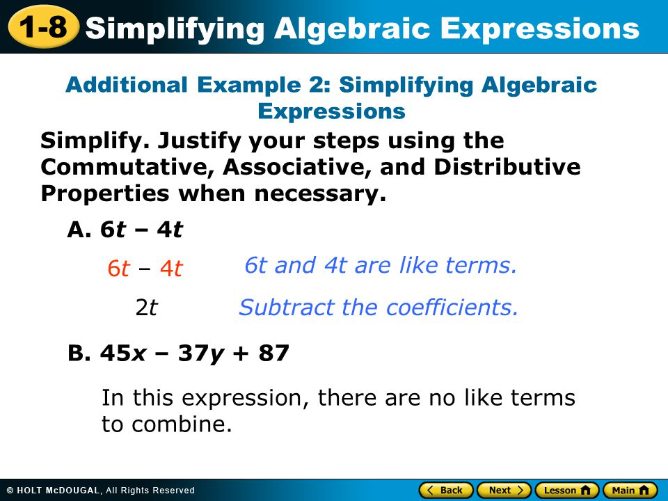 Additional Example 2: Simplifying Algebraic Expressions