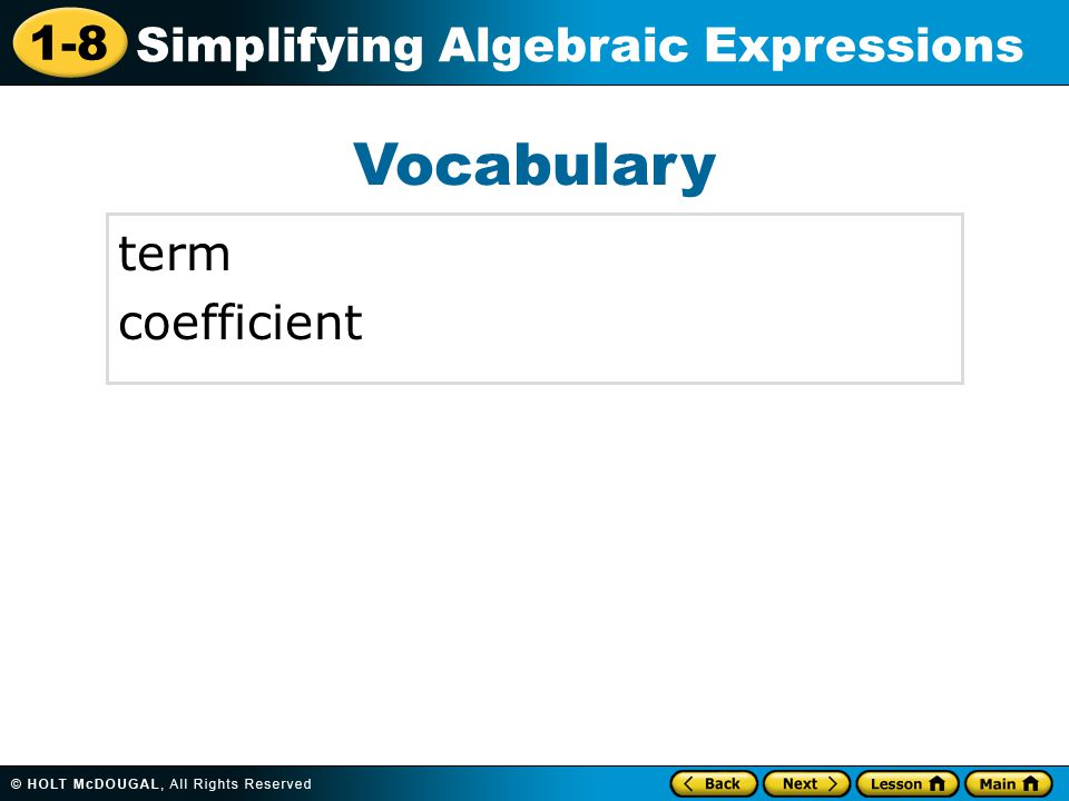 Vocabulary term coefficient