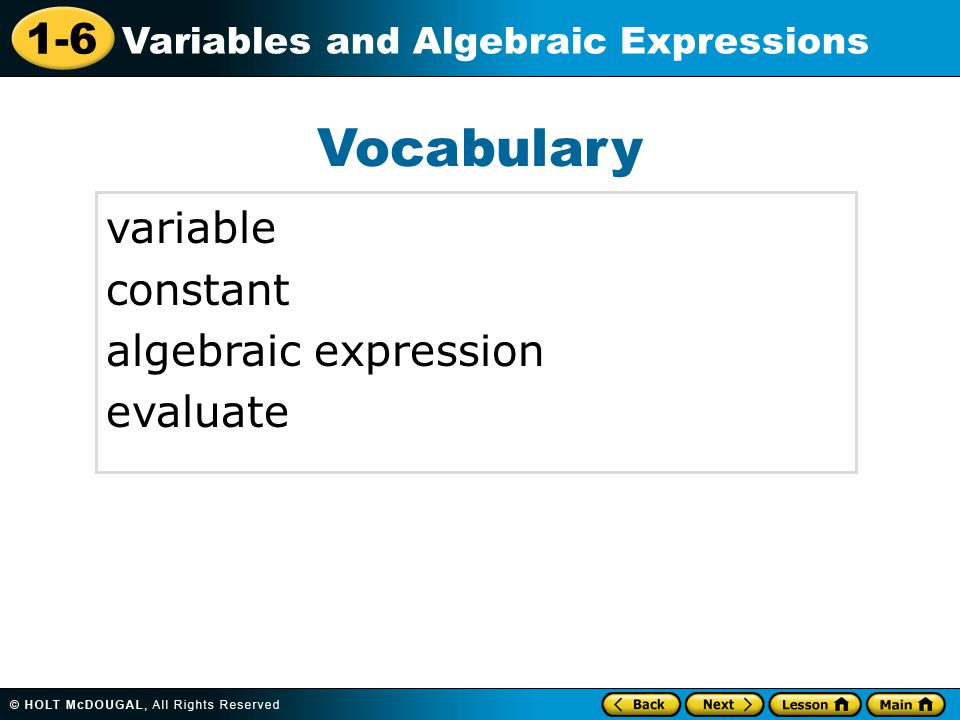 Vocabulary variable constant algebraic expression evaluate