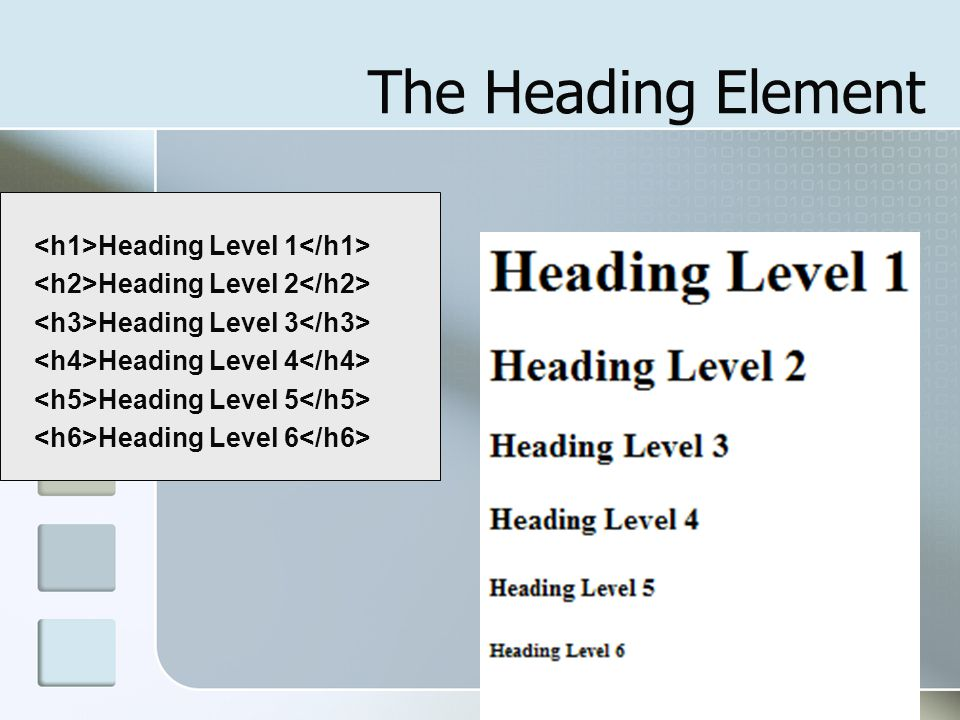 The Heading Element <h1>Heading Level 1</h1>