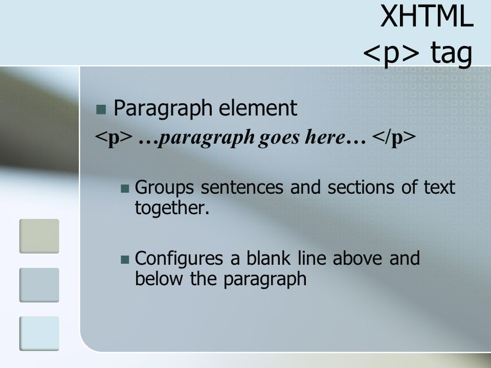 XHTML <p> tag Paragraph element