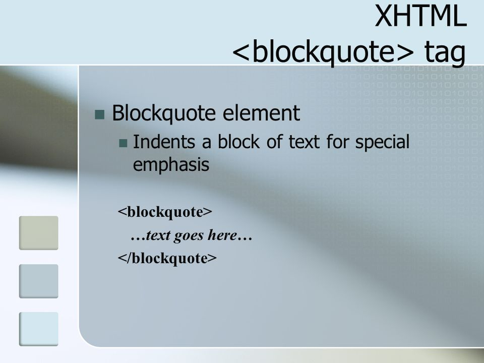 XHTML <blockquote> tag