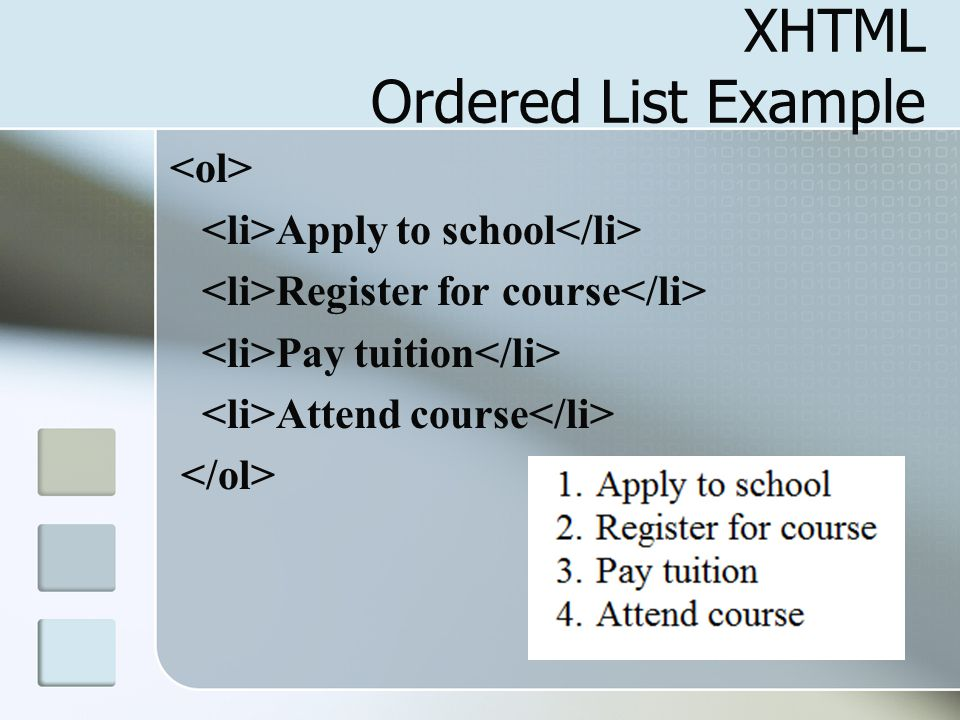 XHTML Ordered List Example