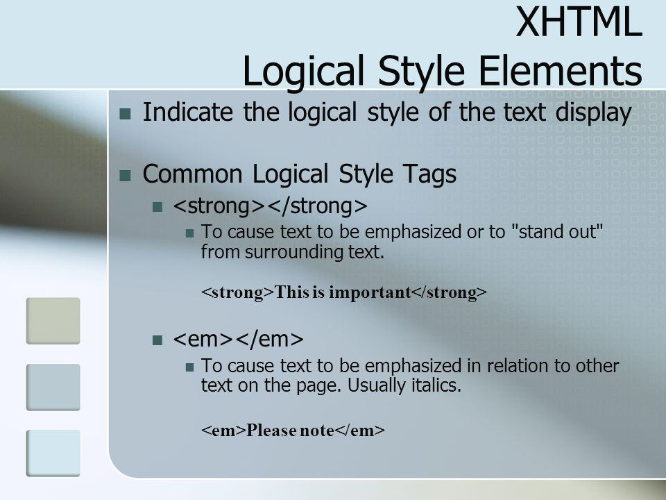XHTML Logical Style Elements