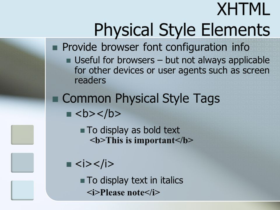 XHTML Physical Style Elements