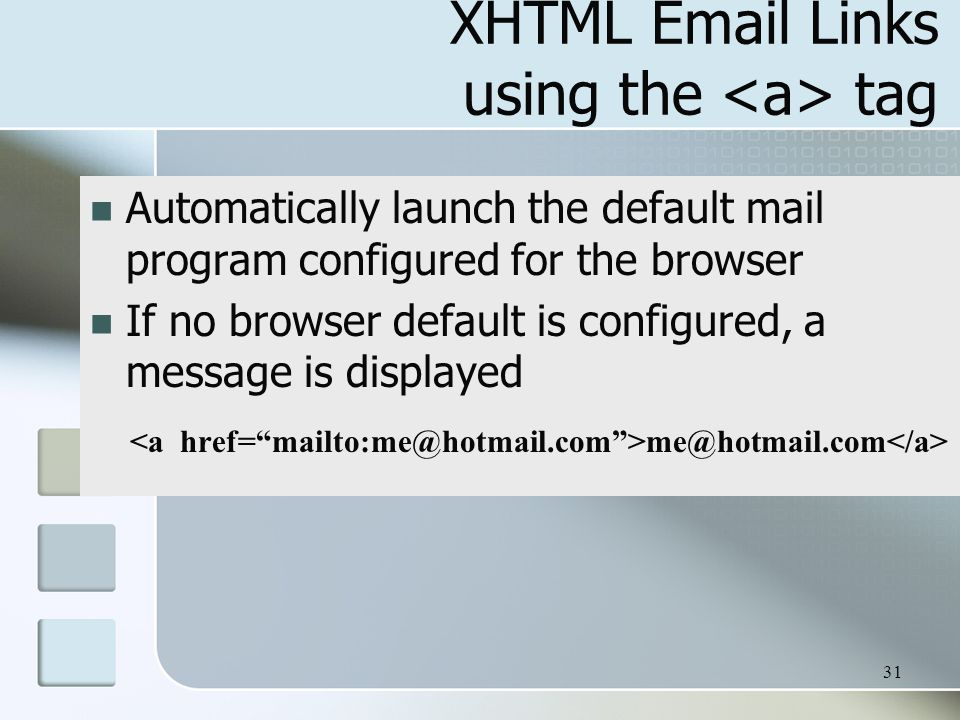 XHTML  Links using the <a> tag