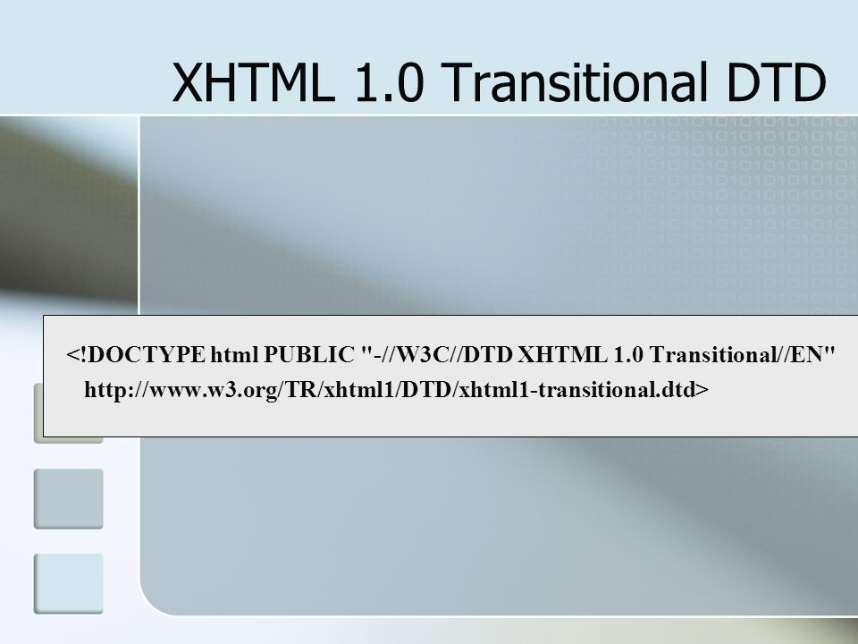 XHTML 1.0 Transitional DTD