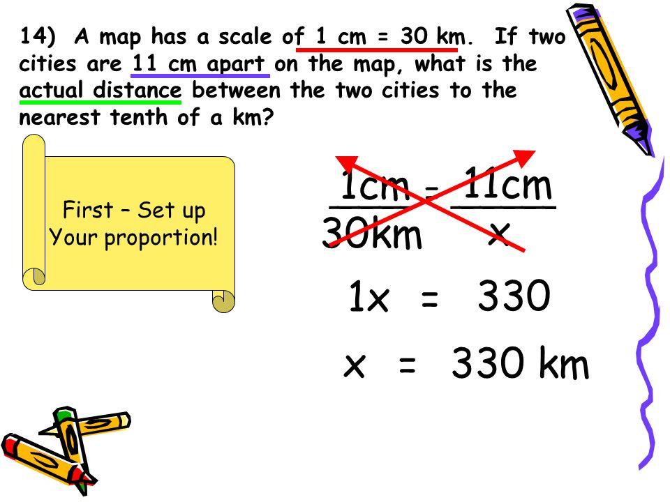 1cm 11cm 30km x 1x = 330 x = 330 km ____ = _____