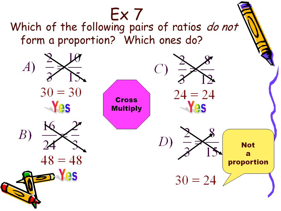 Ex 7 Which of the following pairs of ratios do not form a proportion Which ones do Cross. Multiply.