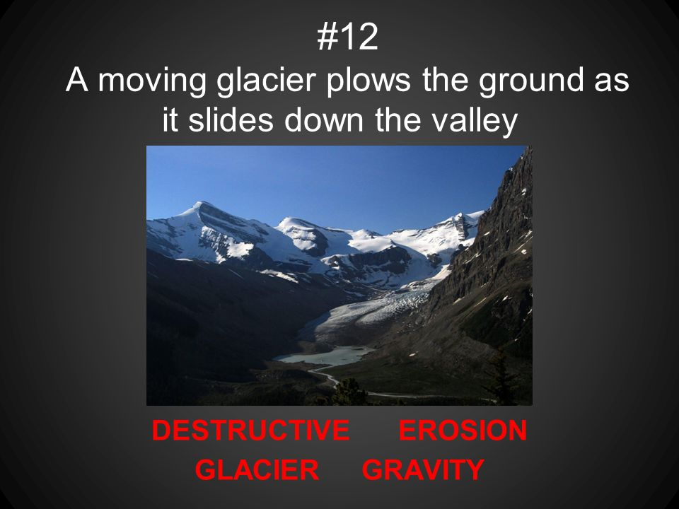 #12 A moving glacier plows the ground as it slides down the valley