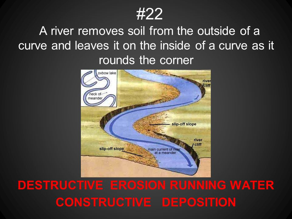 DESTRUCTIVE EROSION RUNNING WATER CONSTRUCTIVE DEPOSITION