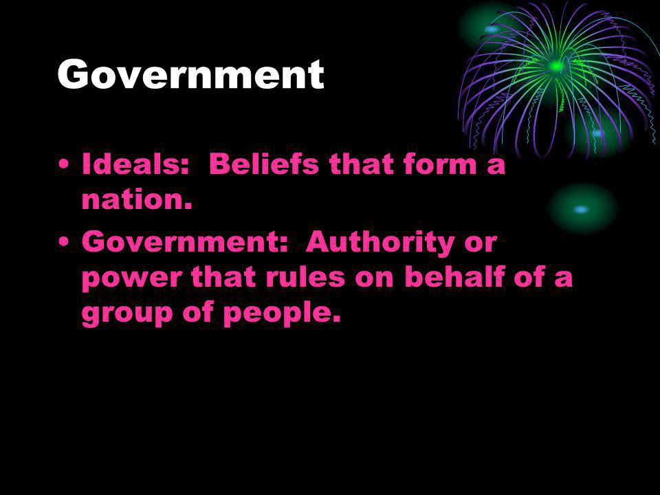 Government Ideals: Beliefs that form a nation.