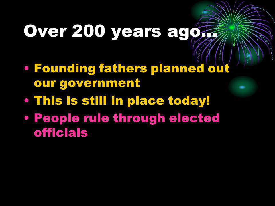 Over 200 years ago… Founding fathers planned out our government