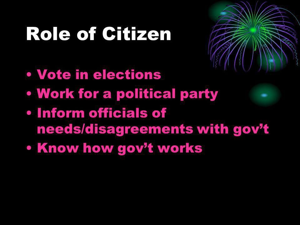 Role of Citizen Vote in elections Work for a political party