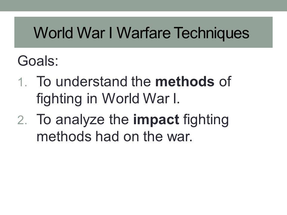 World War I Warfare Techniques
