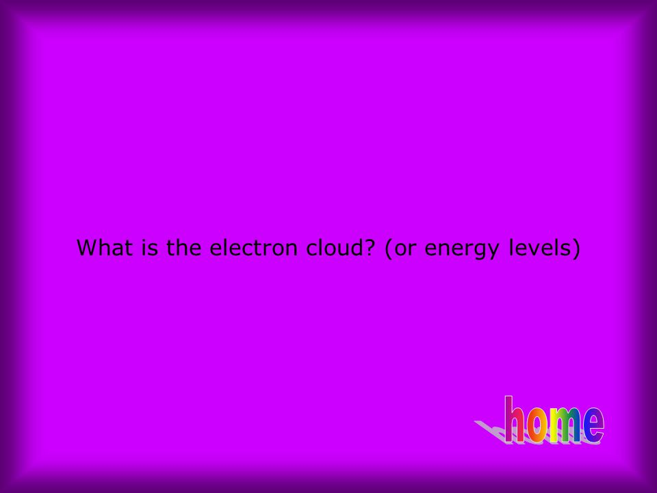 What is the electron cloud (or energy levels)