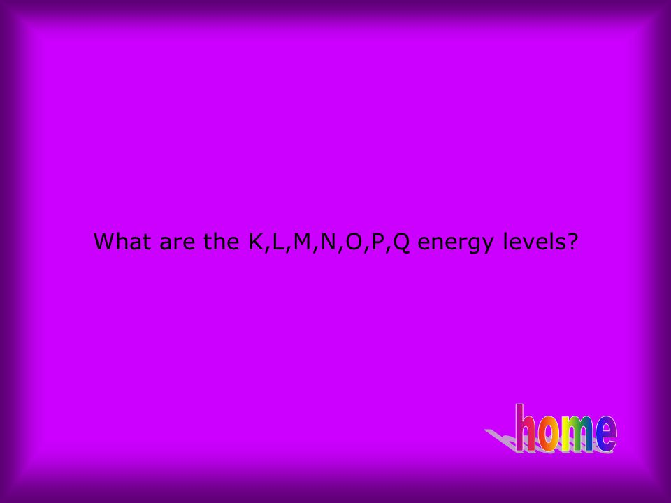 What are the K,L,M,N,O,P,Q energy levels