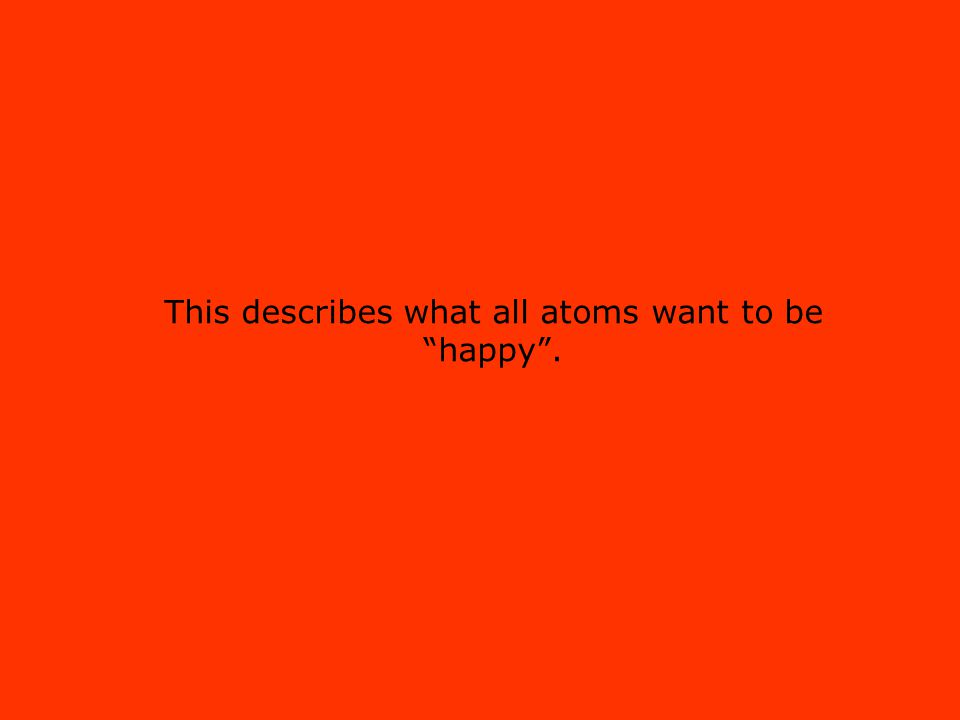 This describes what all atoms want to be happy .