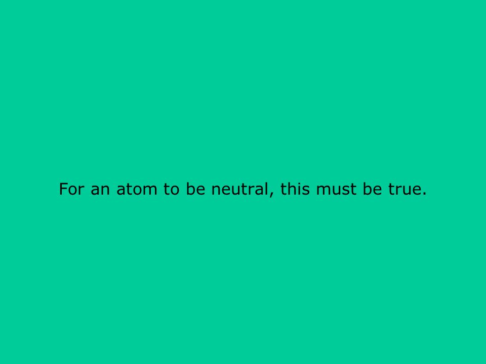 For an atom to be neutral, this must be true.