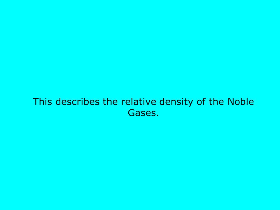 This describes the relative density of the Noble Gases.