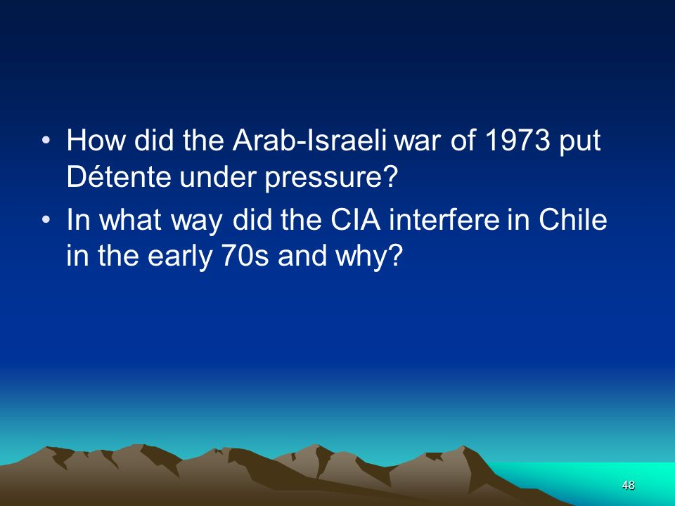 How did the Arab-Israeli war of 1973 put Détente under pressure