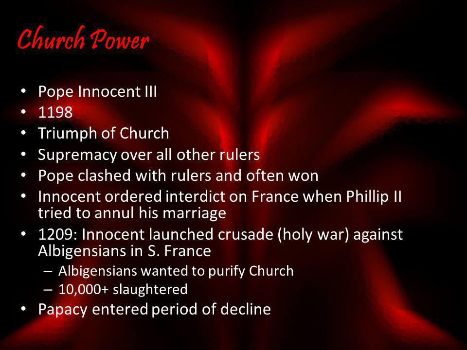 Church Power Pope Innocent III 1198 Triumph of Church