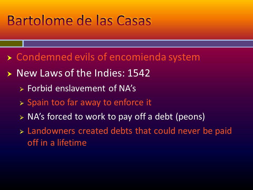 Bartolome de las Casas Condemned evils of encomienda system