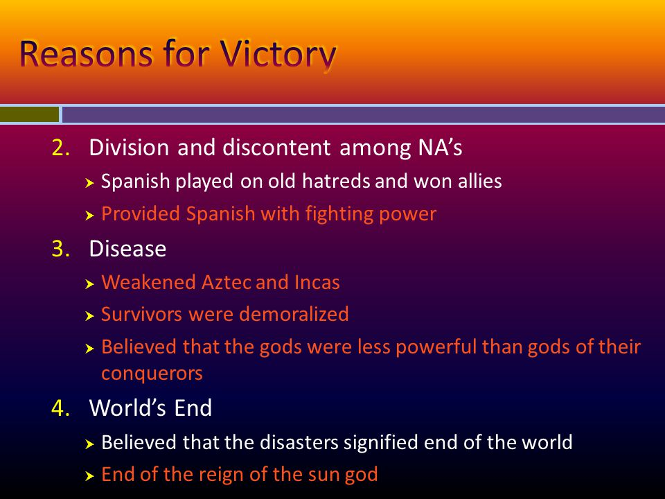 Reasons for Victory Division and discontent among NA's Disease