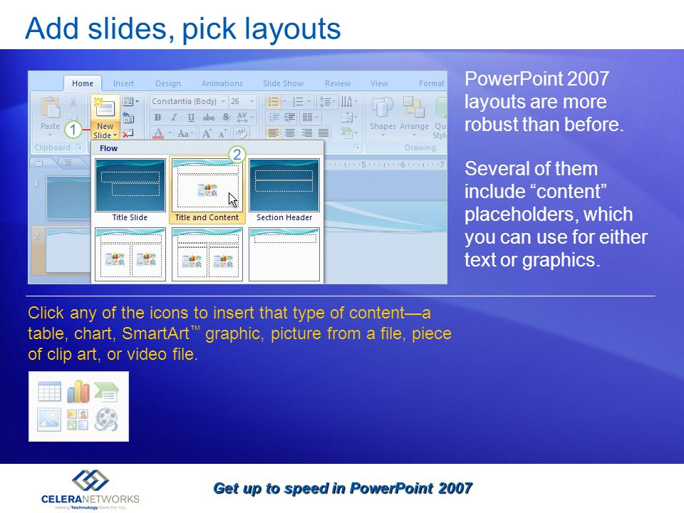 Add slides, pick layouts