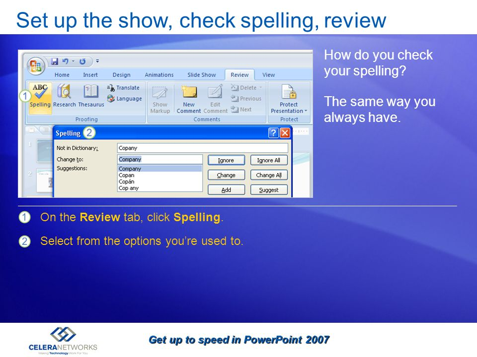Set up the show, check spelling, review