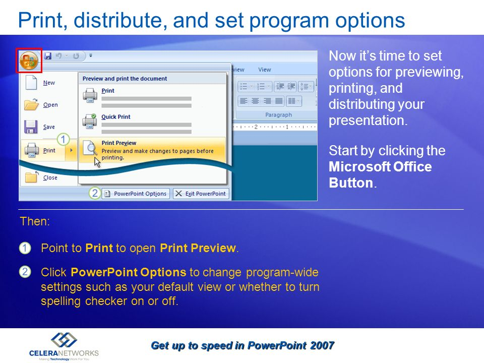 Print, distribute, and set program options