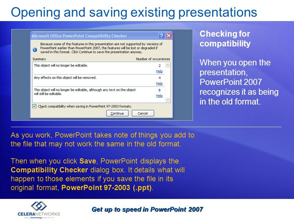 Opening and saving existing presentations