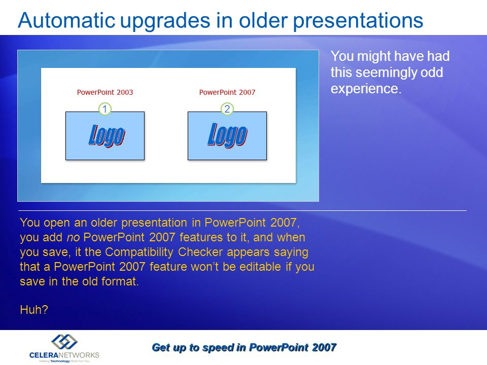 Automatic upgrades in older presentations