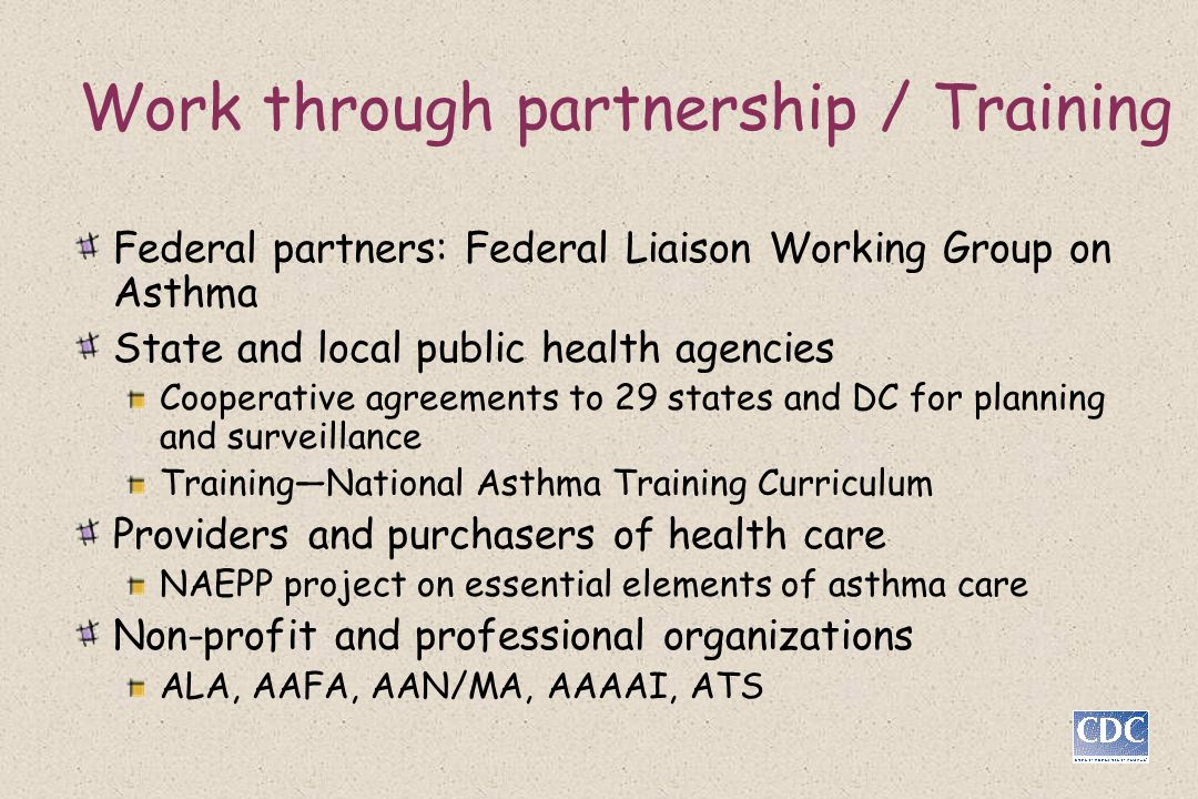 Work through partnership / Training