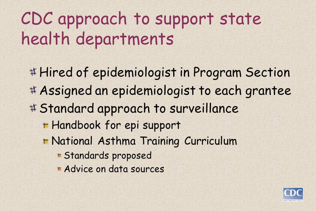 CDC approach to support state health departments