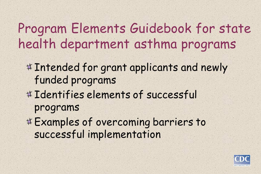 Program Elements Guidebook for state health department asthma programs
