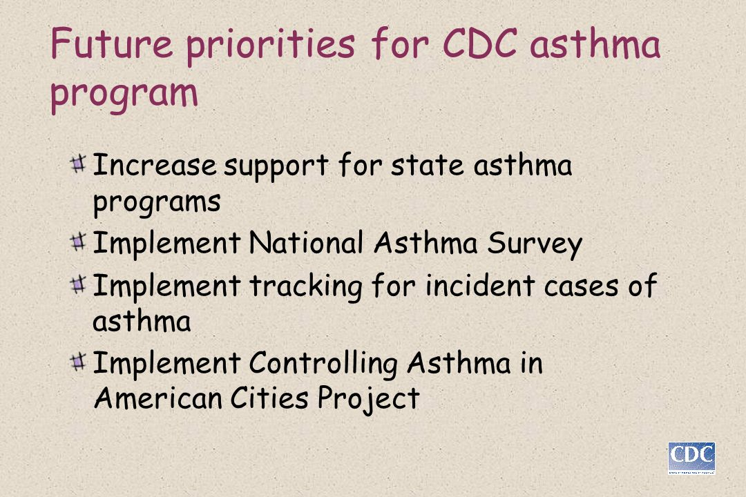 Future priorities for CDC asthma program