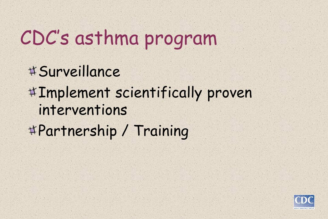 CDC's asthma program Surveillance
