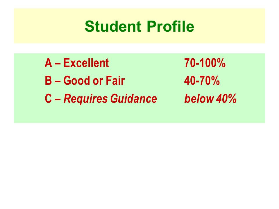 Student Profile A – Excellent % B – Good or Fair 40-70%