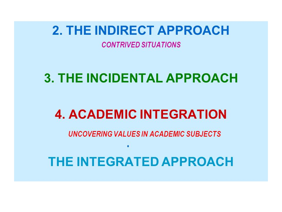 3. THE INCIDENTAL APPROACH 4. ACADEMIC INTEGRATION